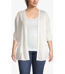 lane bryant women's lane essentials v-neck tunic cardigan 10/12 gardenia