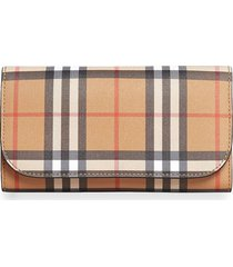 burberry vintage check continental wallet and pouch - neutrals