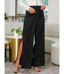 yoins dobladillo con abertura de cintura alta pantalones