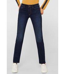jeans straight medium rise azul esprit