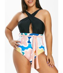 plus size floral print crisscross cutout one-piece swimsuit