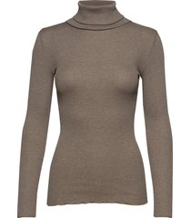 silk t-shirt regular ls roller neck turtleneck coltrui bruin rosemunde
