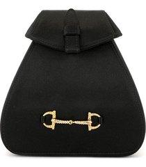 gucci pre-owned mini rhinestone horsebit backpack - black