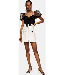 ecru crocodile zip pu mini skirt - off white