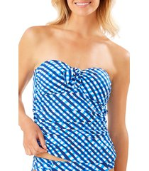 women's tommy bahama harbour island tie front bandeau tankini top, size x-small - blue