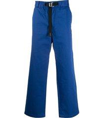 kenzo belted-waist straight leg trousers - blue