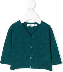 knot raglan sleeve basic cardigan - blue