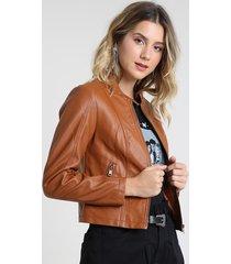 jaqueta biker feminina com bolsos caramelo