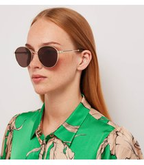 gucci women's round frame sunglasses - gold/brown