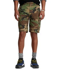 """polo ralph lauren men's 10.5"""" relaxed fit camouflage cotton cargo shorts"""