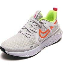 tenis running gris-blanco-amarillo-naranja nike legend react 2