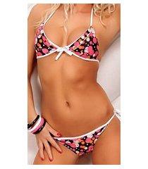 bikini zwart / wit / roze