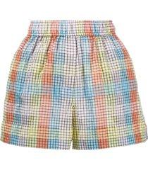 ganni check-print seersucker shorts - blue