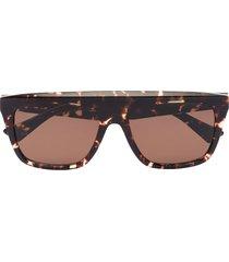 bottega veneta eyewear square-frame tortoiseshell sunglasses - brown
