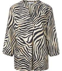blouse 3/4-mouwen en zebraprint van peter hahn beige