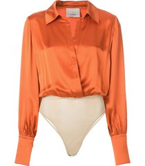 cinq a sept carine shirt bodysuit - orange