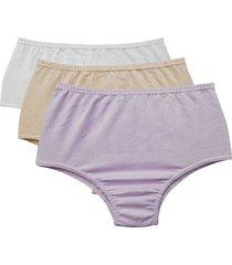 kit 3 calcinhas altas femininas sortidas com algodão