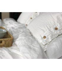 lniana poszewka na poduszkę z falbanką white