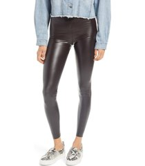 women's hue faux leather high waist leggings, size x-large - brown