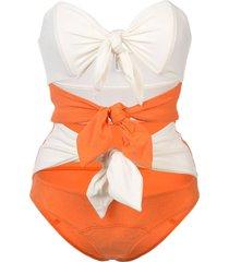 lisa marie fernandez triple poppy knotted swimsuit - yellow