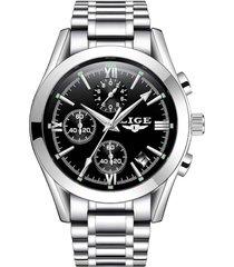 reloj hombres lige 9839 cuarzo acero casual plateado negro
