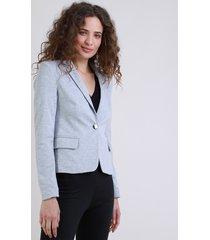 blazer feminino básico acinturado com bolsose botões cinza mescla