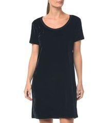 camiseta t.shirt dress de veludo preto - p
