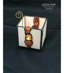 bursztynowy świecznik-lampion handmade