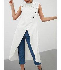 camicetta senza maniche per donna a fascia alta in tinta unita