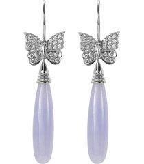 diamond jade 18k white gold butterfly drop earrings