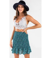 cidney floral ruched mini skirt - turquoise