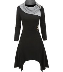 cowl neck button embellished asymmetrical knitted dress