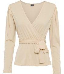 maglia a maniche lunghe con cintura (beige) - bodyflirt