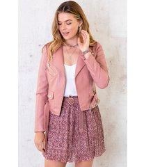 biker jacket leer dames roze