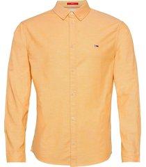 tjm slim stretch oxf overhemd casual oranje tommy jeans
