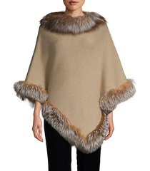 fox fur-trim wool-blend cashmere poncho