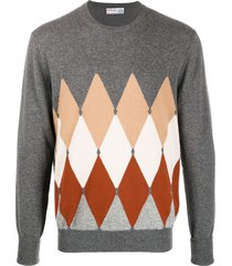 ballantyne diamond pullover cashmere jumper - grey