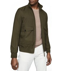 men's reiss kura skim fit bomber jacket, size x-large - green
