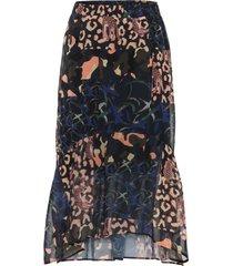 mönstrad kjol med asymmetrisk volang
