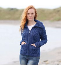 ladies double collar zipped cardigan blue large