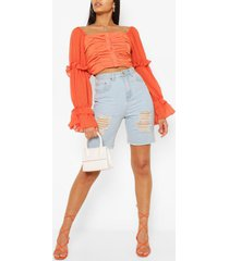 woven ruffle blouson sleeve blouse, orange