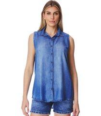 camisa jeans zait regata juliana azul marinho - azul marinho - feminino - dafiti