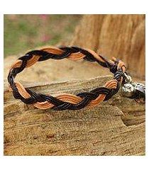 smoky quartz and leather braided bracelet, 'joyous nature' (thailand)