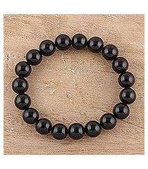 onyx beaded stretch bracelet, 'lustrous orbs' (india)