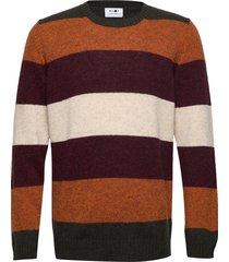nathan stripe 6212 gebreide trui met ronde kraag bruin nn07