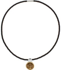 men's americana braided leather necklace with bronze and sterling silver pendant