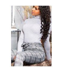 sexy hoge taille thermo broek met riem zwartwit