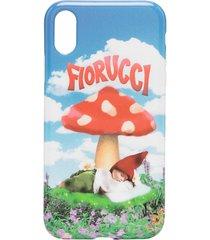 fiorucci mushroom print iphone xr case - blue