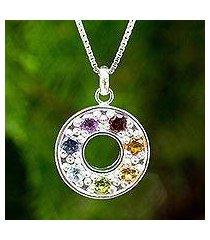multigemstone chakra pendant necklace, 'chakra honor wheel' (thailand)
