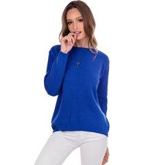 blusa myah lua azul bic básico em tricô